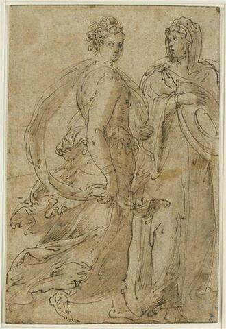 Deux figures de femmes debout et drapées