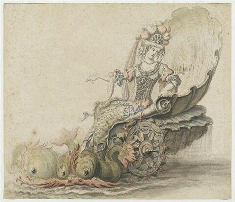 Thétis dans son char marin pour l'opéra Alceste