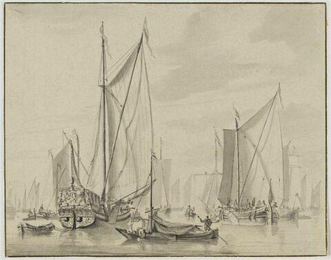 Bateaux à voiles dans un port