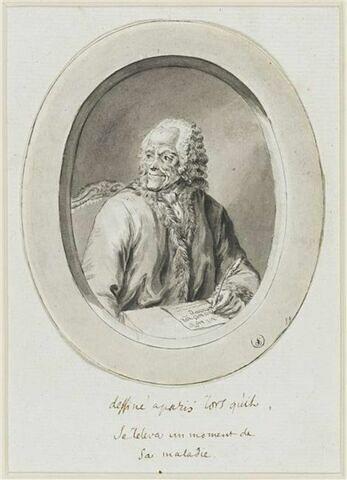 Voltaire dessiné à Paris lorsqu'il se releva un moment de sa maladie