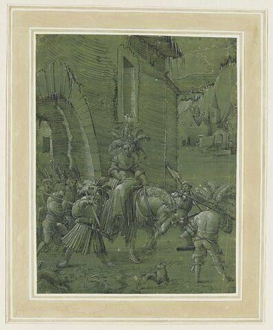 Femme franchissant, à cheval, la porte d'une ville