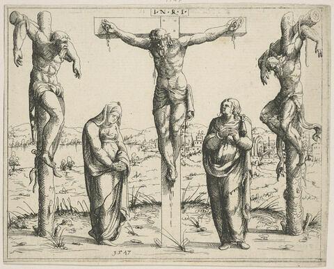 Histoires de l'Ancien et du Nouveau Testament. Le Crist sur la croix avec la Vierge Marie et Saint Jean