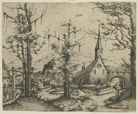 Paysage avec des arbres et une église à droite