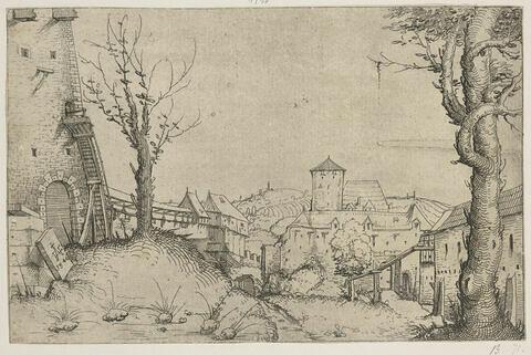 Paysage dans la cour d'un château
