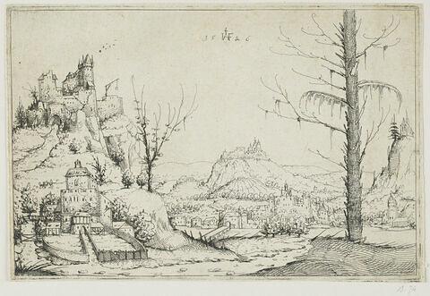 Paysage avec un haut rocher et un château à gauche