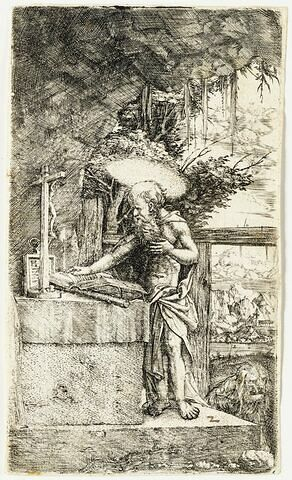 Saint Jérôme devat le crucifix