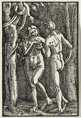 Adam et Eve près du serpent  : Chute et Rédemption de l'Humanité, suite de quarante bois gravés