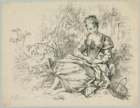 Jeune fille assise en méditation