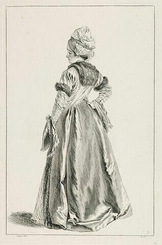 Jeune fille, vue de dos, coiffée d'un turban