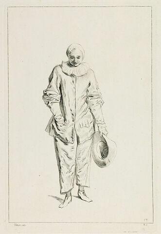 Un Gilles en pied, de face, le chapeau à la main