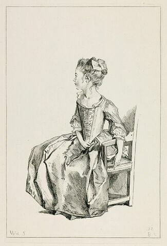 Petite fille assise, le profil tourné à gauche, un bras pendant sur le bois d'un fauteuil