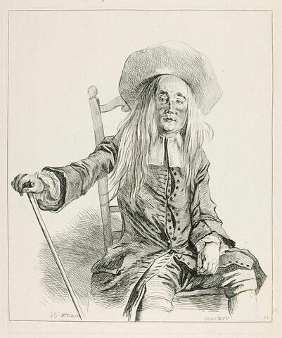 Vieillard assis sur une chaise, coiffé d'un grand chapeau