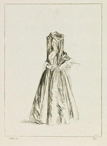 Femme debout, tournée à gauche