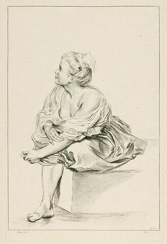 Femme assise, en chemise