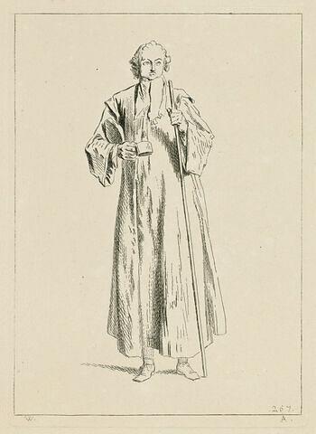 Mendiant tenant une sébille de la main droite, un grand bâton de la main gauche