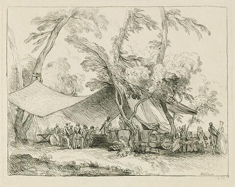 Soldats et femmes attablés sous une grande tente