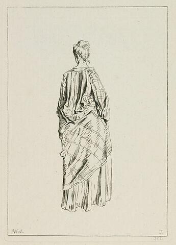 Femme vue de dos, les hanches serrées dans une écharpe rayée jetée par dessus sa robe