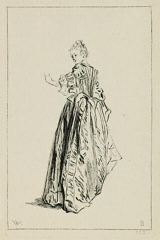 Femme vue de dos, se retournant et tendant sa main gauche