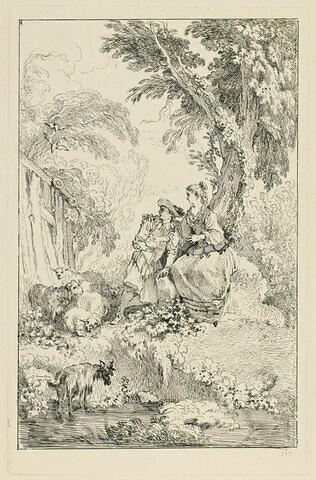 Berger et bergère assis sous un arbre