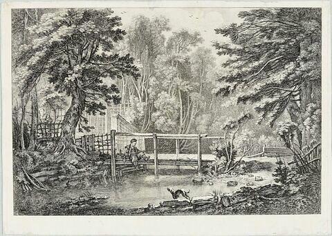 Le Pêcheur assis sur un pont