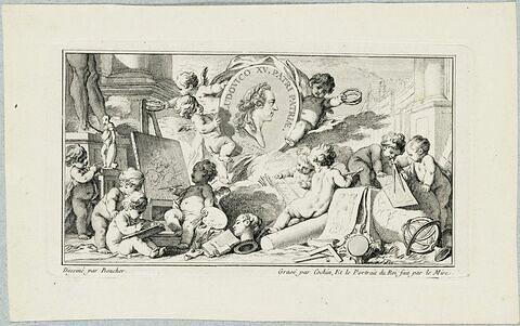 Vignette avec une médaille à l'effigie de Louis XV