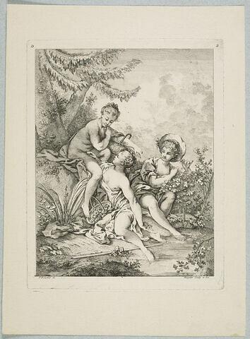 Trois jeunes femmes avec des paniers, au bord de l'eau. Quatrième livre (D) de sujets et pastorales