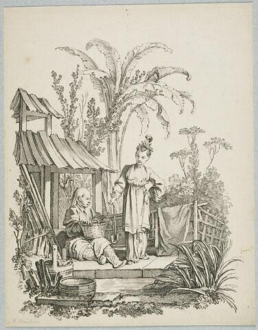Scènes de la vie chinoise : Chinois assis et Chinoise portant un poisson. Scène de la vie chinoise