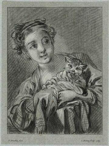 Jeune fille tenant un chat