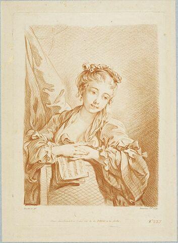 Buste de jeune fille tenant un cahier de musique