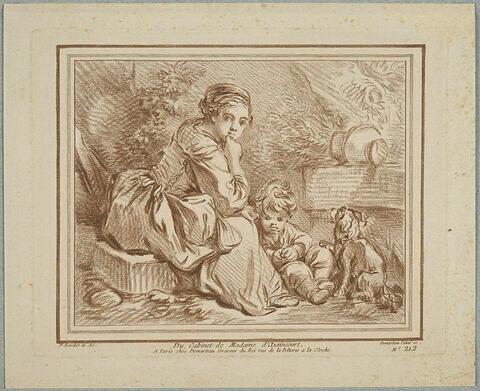 Jeune paysanne assise avec un enfant et un chien
