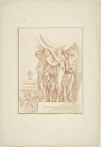 Quatre femmes drapées supportant un globe