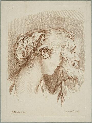 Tête de femme et tête de vieillard