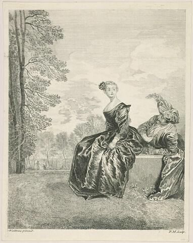 Dame dirigée à gauche assise sur un banc