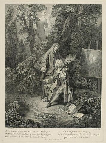 M. de Julienne jouant du violoncelle près de Watteau