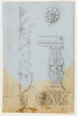 Motifs de rinceaux, détail du tône de Jupiter et frise décorative avec un masque d'homme