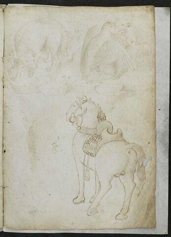 Renard, aigle terrassant un héron ; cheval harnaché (d'une autre main)