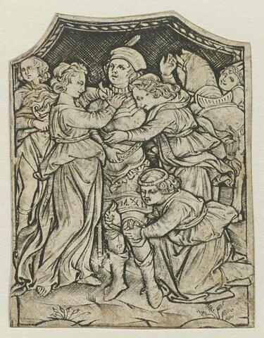 Hector armé par quatre jeunes filles