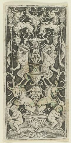 Arabesques avec deux enfants, deux satyres et animaux