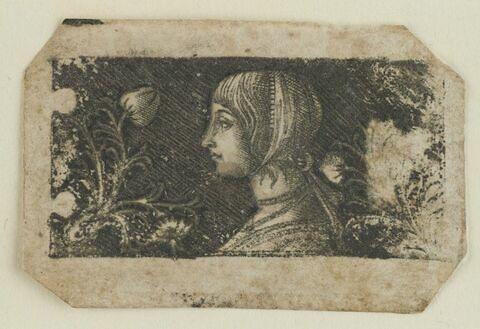 Tête de jeune fille tournée vers la gauche , au milieu d' ornements