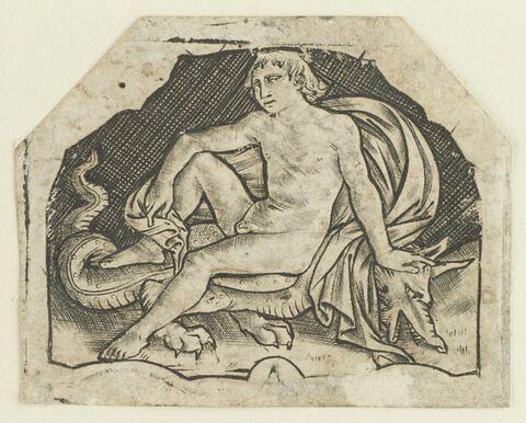 Jeune lutteur assis sur un dragon