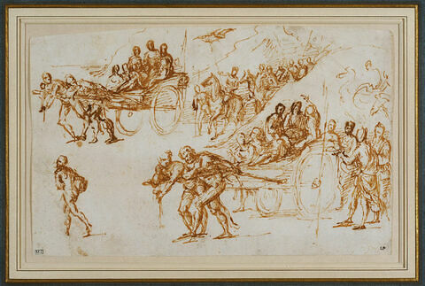 Deux études d'un char de triomphe suivi par un cortège de cavaliers dans un paysage