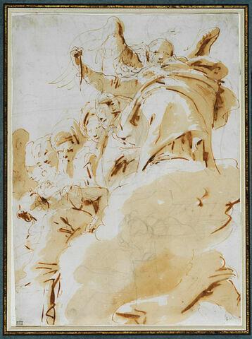 Figure ailée tenant une dague, entourée de figures sur un nuage