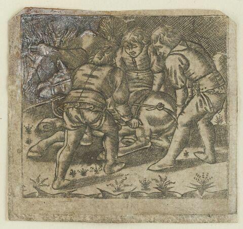 Trois hommes soulevant un âne