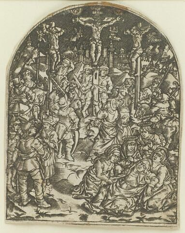 Le Christ en croix avec les deux larrons, une ville en arrière-plan