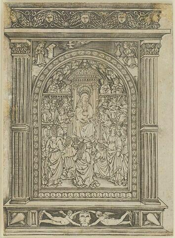 La Vierge et l'Enfant Jésus sur un trône entourés d'anges et de saintes