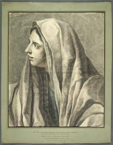 Femme voilée, en buste, de trois quarts à gauche