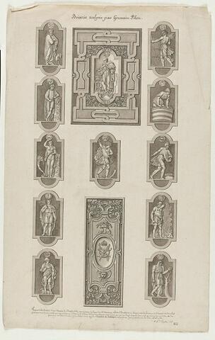 Onze petits panneaux cintrés avec figures allégoriques