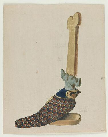 Oiseau égyptien surmonté d'une double couronne, tourné vers la droite