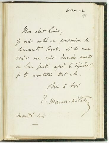 11 mars 1902, sans lieu, à Louis de Launay
