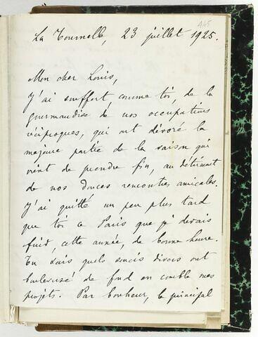 23 juillet 1925, La Tournelle, à Louis de Launay
